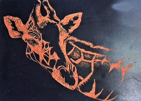 Giraffe - A3 Carved board